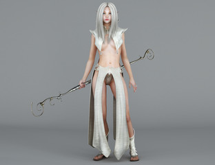Female elf Mage with blue eyes. Fantasy Character