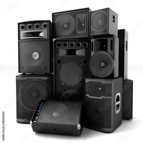 Leinwanddruck Bild Group of speakers ,loud or abused concept