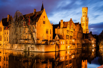 """Rozenhoedkaai"" and ""Belfry"" in Bruges. Belgium"