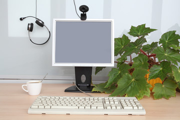 Computer's monitor and  keyboard