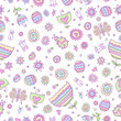 Springtime Easter Doodle Seamless Pattern Vector