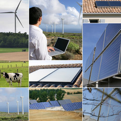 Renewable energies themed collage