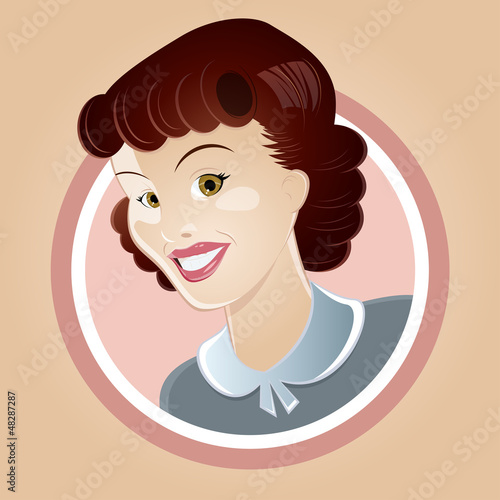 retro cartoon frau hausfrau