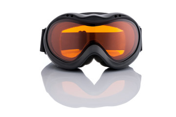 Brand new ski goggles isolated on white background