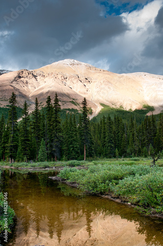 Mountain scenery with small pond in Banff national park