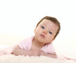 baby girl portrait dress in pink with winter white fur