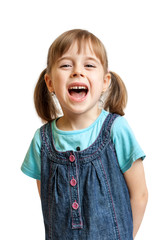 Pretty sweet young girl laughing isolated