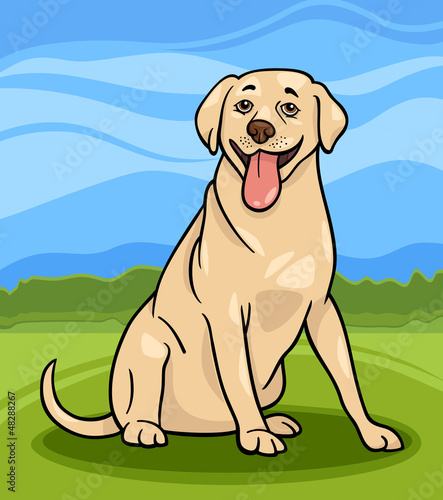 Aluminium Honden labrador retriever dog cartoon illustration