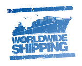 Worldwide shipping rubber stamp.