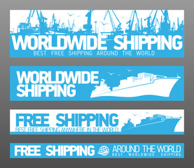 Worldwide free shipping banners collection.