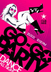 Go-go party design template with fashion girl and place for text