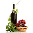bottle of wine with grapes isolated on white