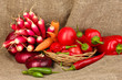 fresh red vegetables on sackcloth background