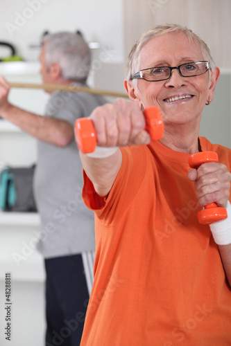 Senior couple deciding to stay fit