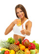 beautiful young woman with fruits and vegetables and glass of