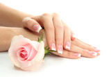 Fototapety Beautiful woman hands with rose, isolated on white