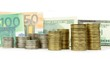 Coins, euro and dollar banknotes