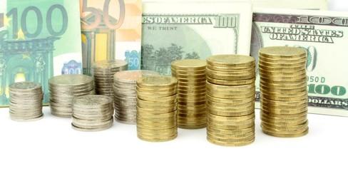 Various money. Coins, euro and dollar banknotes