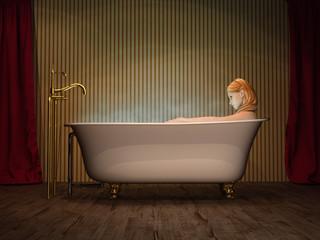 Junge Frau badet in freistehender Jugendstil Wanne 3D