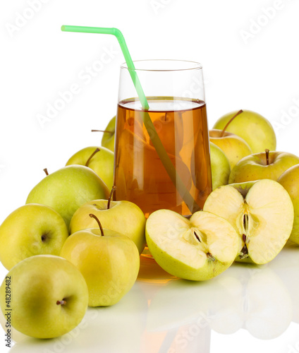 Useful apple juice with apples around isolated on white