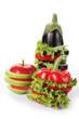 Aubergine, apple and pepper