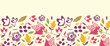 Vector Colorful vibrant flowers elegant horizontal seamless