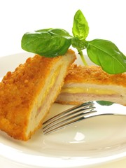 Stuffed cutlet, close-up, isolated