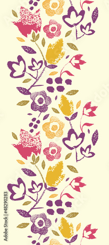 Vector Colorful vibrant flowers elegant vertical seamless