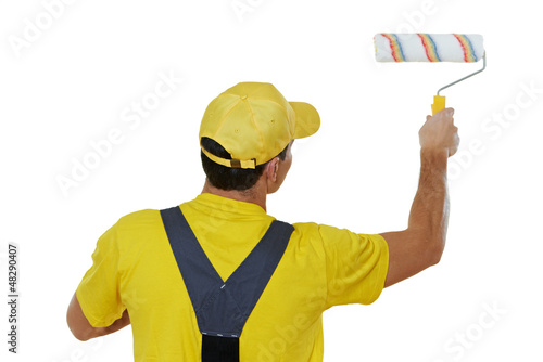 painter man in uniform with paint roller