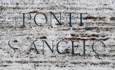 Streetsign Ponte Sant Angelo in Rome, Italy