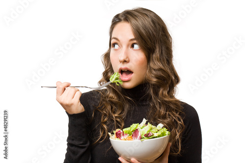 Brunette  with fresh salad.