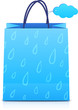 Blue vector paper shopping bag with rain pattern and cloud label