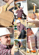 A collage of a construction worker
