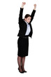 Businesswoman stretching at work