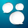 Paper white round speech bubbles.