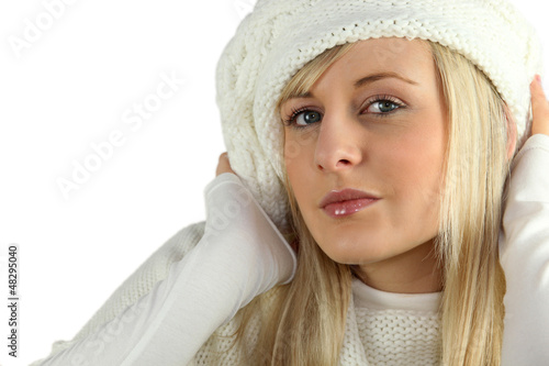 beautiful young woman wearing winter clothes