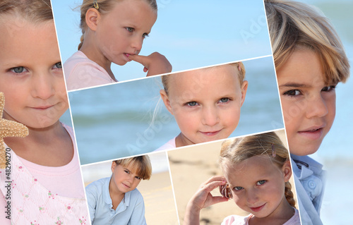 Montage of children on a beach