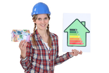 Woman with energy consumption sign