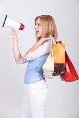 Woman announcing shopping deals