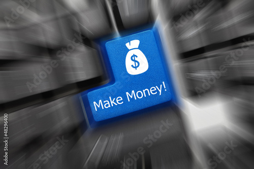 Conceptual keyboard - Make Money (blue key). Zoom effect