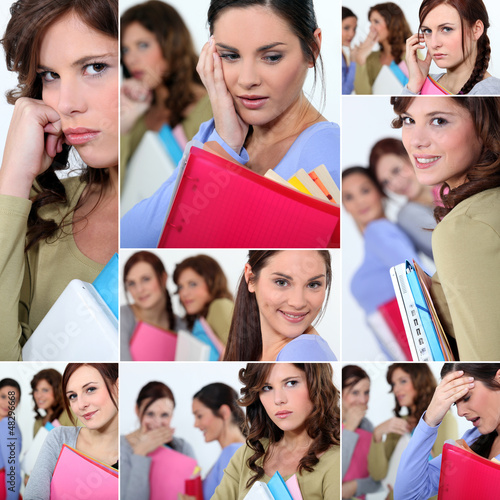 Montage of female students worried about exams