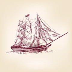 vintage old Ships illustration.