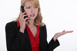 Blond having telephone dispute