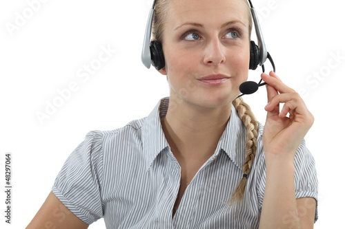 Blond call-center agent