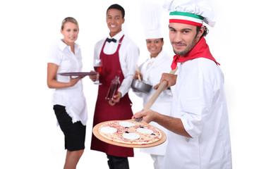 Pizzeria team.