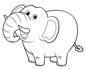 illustration of Cartoon Elephant - Coloring book