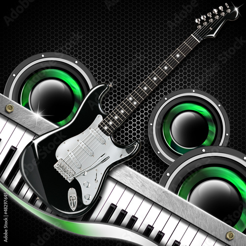 Black Guitar Hexagons Background