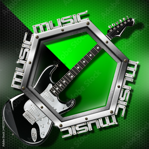 Black Guitar Hexagon Music Background