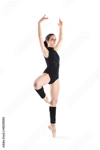 Young dancer isolated on white background. Ballerina project.
