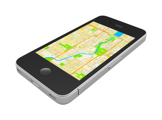 Black smartphone with an abstract GPS map on screen